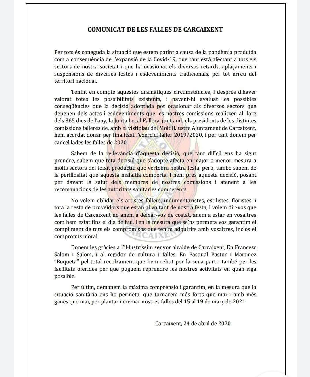 Comunicado Junta Local Fallera de Carcaixent - Don Falleret